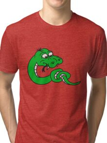 knot knotted snake funny comic cartoon Tri-blend T-Shirt