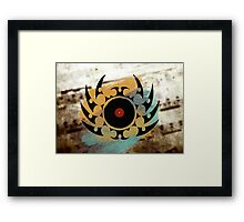 Retro Vinyl Records Music - Vinyl With Paint and Tribal Spikes - DJ TShirt Framed Print