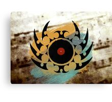 Retro Vinyl Records Music - Vinyl With Paint and Tribal Spikes - DJ TShirt Canvas Print