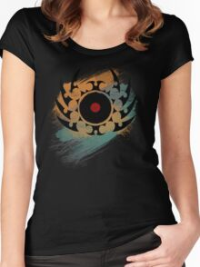 Retro Vinyl Records Music - Vinyl With Paint and Tribal Spikes - DJ TShirt Women's Fitted Scoop T-Shirt
