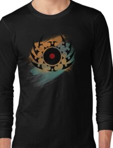 Retro Vinyl Records Music - Vinyl With Paint and Tribal Spikes - DJ TShirt Long Sleeve T-Shirt