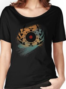 Retro Vinyl Records Music - Vinyl With Paint and Tribal Spikes - DJ TShirt Women's Relaxed Fit T-Shirt