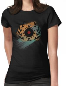 Retro Vinyl Records Music - Vinyl With Paint and Tribal Spikes - DJ TShirt Womens Fitted T-Shirt