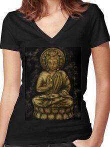 Zen Gold, Buddha 1 Women's Fitted V-Neck T-Shirt