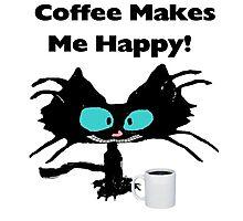 Coffee Makes Me Happy Cat Photographic Print