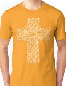 TCS3C Celtic Cross White on Black Unisex T-Shirt