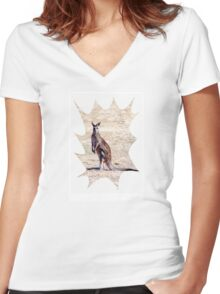 Kangaroo Watching Women's Fitted V-Neck T-Shirt