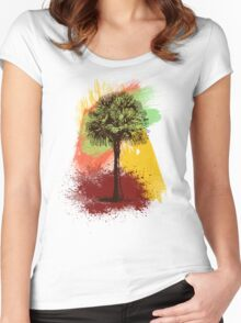 Grunge Palm Tree T-Shirt - Art Prints - Stickers Notebooks Women's Fitted Scoop T-Shirt