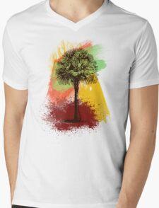 Grunge Palm Tree T-Shirt - Art Prints - Stickers Notebooks Mens V-Neck T-Shirt
