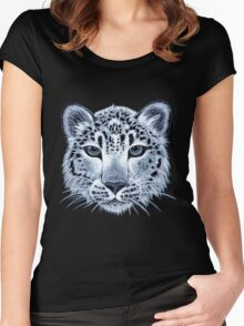 Snow leopard acrylic painting Women's Fitted Scoop T-Shirt