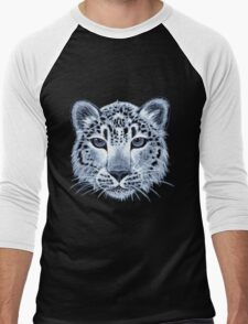 Snow leopard acrylic painting Men's Baseball ¾ T-Shirt
