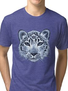 Snow leopard acrylic painting Tri-blend T-Shirt
