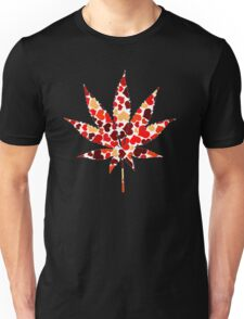 Love and Weed - Cannabis leaf with hearts Unisex T-Shirt