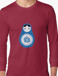 Matrioshka doll blue and white Long Sleeve T-Shirt