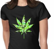 Love and Weed - Cannabis leaf with hearts Womens Fitted T-Shirt