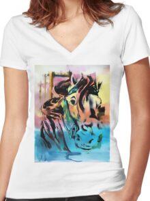 Carousel Horse Women's Fitted V-Neck T-Shirt