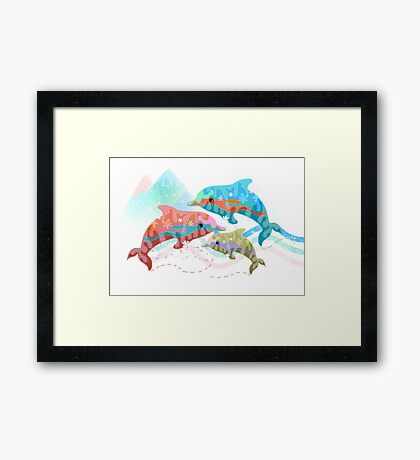 Camouflage Dolphins Framed Print