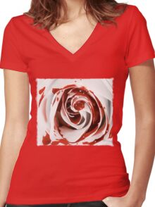 Blood Rose Women's Fitted V-Neck T-Shirt