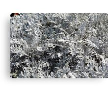 Light green gray leaves, natural pattern. Canvas Print