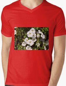 White calm flowers in the garden. Mens V-Neck T-Shirt