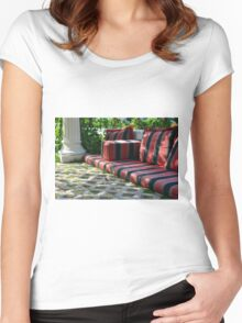 Mattress in the park and white classical column next to green leaves. Women's Fitted Scoop T-Shirt
