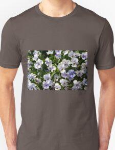Beautiful small white purple flowers in the green bush. T-Shirt