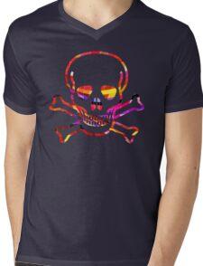 Cool Skull with Colors Palette Mens V-Neck T-Shirt