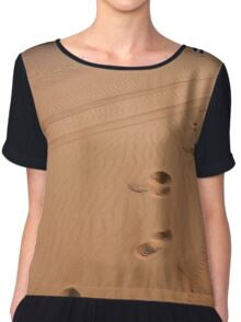 Man walking in the desert leaving footsteps in the sand. Chiffon Top