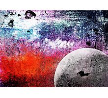 Lunatic Love - The moon and Heart - Grunge Textures Photographic Print