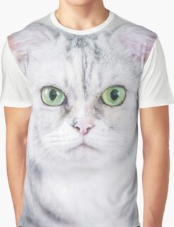 Green Eyes Silver Cat Graphic T-Shirt