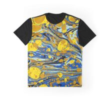 Blue Yellow Urban Hip Hop Splash Psychedelic Blob Abstract Pattern Graphic T-Shirt