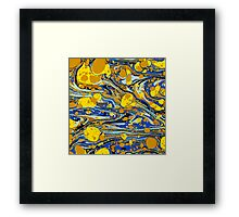 Blue Yellow Urban Hip Hop Splash Psychedelic Blob Abstract Pattern Framed Print
