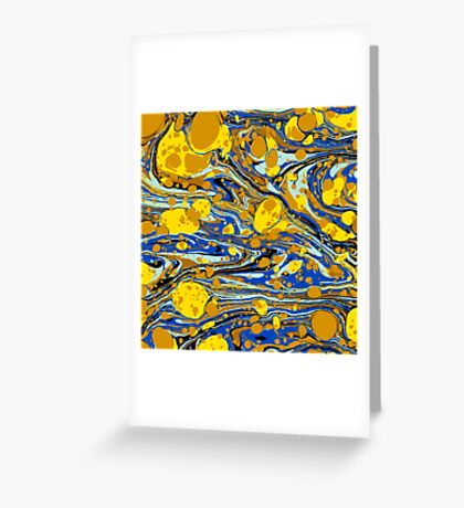 Blue Yellow Urban Hip Hop Splash Psychedelic Blob Abstract Pattern Greeting Card