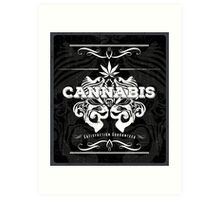 Cannabis Art Deco Retro Design Art Print