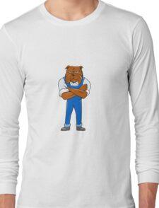 Bulldog Standing Arms Crossed Cartoon Long Sleeve T-Shirt