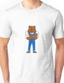 Bulldog Standing Arms Crossed Cartoon Unisex T-Shirt