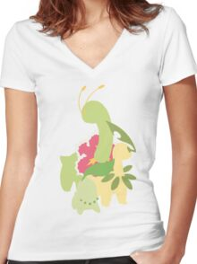 Chikorita Evolution Women's Fitted V-Neck T-Shirt