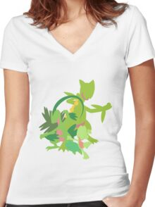 Treecko Evolution Women's Fitted V-Neck T-Shirt