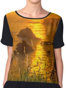 beautiful sunset over the coastal rocks Chiffon Top