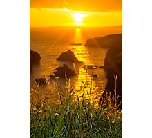 beautiful sunset over the coastal rocks Photographic Print
