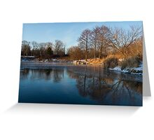 Still and Early - Icy Reflections With a Touch of Snow Greeting Card