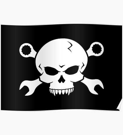 Skull 'n' Tools - Screw Pirate 2 (white) Poster