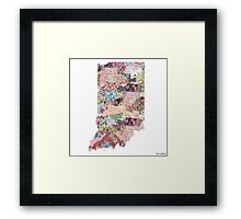 Indiana map Framed Print