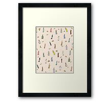 Jane Austen characters - Floral Framed Print