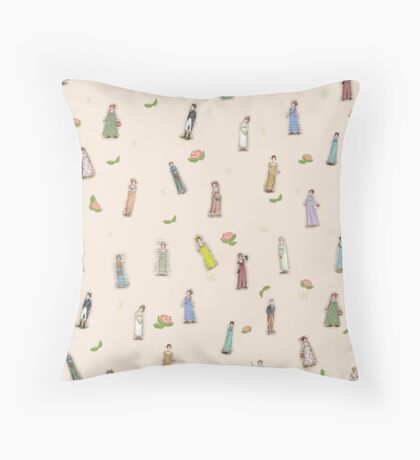 Jane Austen characters - Floral Throw Pillow