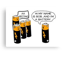 Funny AA Batteries Meeting Canvas Print