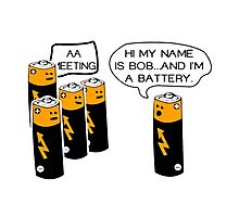 Funny AA Batteries Meeting Photographic Print