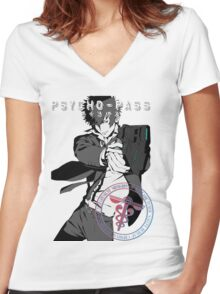 Kougami Shinya with stamp psycho pass Women's Fitted V-Neck T-Shirt