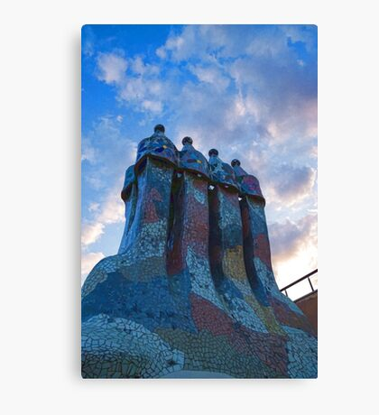 Sunset Colored Chimneys - Impressions Of Barcelona Canvas Print