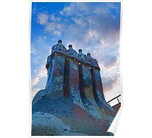 Sunset Colored Chimneys - Impressions Of Barcelona Poster